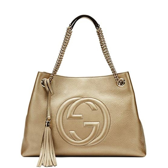 Gucci Handbags - Gucci Soho Metallic Chain Medium Tote Golden Beige